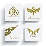 Комплект вектора тайского дизайна и украшения орнамента Стоковое Изображение RF