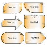Комплект вектора текстовых полей шаржа Стоковое Изображение