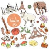 Комплект вектора туристических достопримечательностей Индии Стоковые Фотографии RF