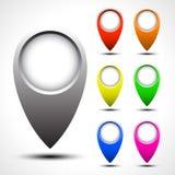 Комплект вектора указателя карты цвета Стоковое Изображение