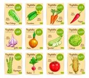 Комплект вектора фермы карточек цены овощей органический Стоковые Изображения