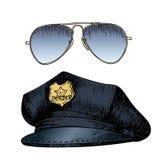Комплект вектора формы полицейския Шляпа крышки и солнечные очки авиаторов Стиль нарисованный рукой выгравированный Стоковые Изображения