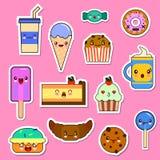 Комплект вектора характеров еды Kawaii стикеры смайлика помадок и конфет иллюстрация штока