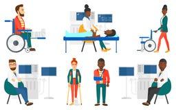 Комплект вектора характеров и пациентов доктора иллюстрация вектора