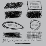 Комплект вектора ходов карандаша grunge похожих на ручка Иллюстрация EPS10 вектора Стоковые Изображения RF
