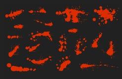 Комплект вектора чернил брызгает элемент дизайна grunge собрания splatter помарками и цвета фона искусства жидкость грязного пако Стоковые Фото