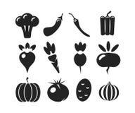 Комплект вектора черноты silhouettes различные овощи изолированные на белой предпосылке Стоковые Изображения RF