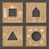 Комплект вектора 4 шаблонов для бумажных рождественских открыток Стоковая Фотография