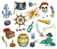 Комплект вектора шаржа пирата Стоковая Фотография
