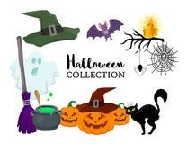 Комплект вектора шаржа хеллоуина нарисованного рукой плоского возражает Стоковое Изображение