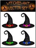 Комплект вектора шляпы ведьм хеллоуина реалистической белизна cogwheel предпосылки изолированная иллюстрацией Стоковые Изображения