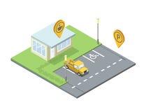 Комплект вектора элемента города, значка штыря бирки geo места для парковки, кофейни Стоковые Фото