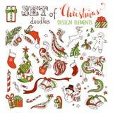 Комплект вектора элементов дизайна рождества doodles Стоковое Изображение