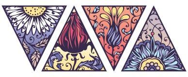Комплект вектора ярких флористических треугольников Стоковая Фотография