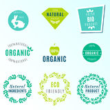 Комплект вектора ярлыков и значков зеленого цвета с листьями для продуктов органических, естественных, био и eco дружелюбных, изо Стоковое Фото