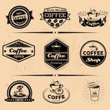 Комплект вектора ярлыков кофе, элементов дизайна Стоковое Фото