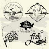 Комплект вектора ярлыков клуба рыбной ловли, элементов дизайна Стоковая Фотография