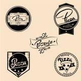 Комплект вектора ярлыков пиццы, элементов дизайна Стоковые Фото