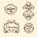 Комплект вектора ярлыков шоколада, элементов дизайна Стоковые Изображения RF