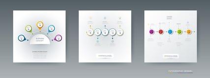 Комплект вектора, ярлык круга infographics 3D с 5 вариантами или шаги Стоковые Изображения RF