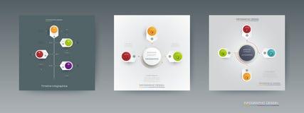 Комплект вектора, ярлык круга infographics 3D с вариантами или шаги Стоковые Фотографии RF