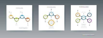 Комплект вектора, ярлык круга infographics 3D с вариантами или шаги Стоковые Изображения RF