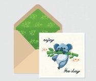 Комплект вектора для дизайна Конверт и карточка с милой коалой бесплатная иллюстрация