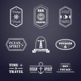 Комплект вектора ½ 'ÐΜрР½ Ñ  Ð˜Ð Ñ Ð» л морского 'а labelsÐµÑ стиля Иллюстрация штока