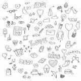 Комплект вектора doodle влюбленности Стоковые Фотографии RF