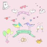 Комплект вектора doodle дня ` s валентинки смешной Стоковые Фото