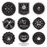 Комплект вектора Handmade логотипа мастерской винтажный Битник и ретро стиль Стоковое Фото