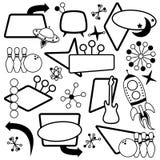 Комплект вектора 1950s или ретро тематических знаков Стоковое Изображение