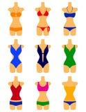 Комплект вектора swimwears стоковые изображения rf