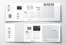 Комплект вектора trifold брошюр, квадратных шаблонов дизайна Абстрактная красочная полигональная предпосылка, современное стильно Стоковое Изображение RF