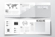 Комплект вектора trifold брошюр, квадратных шаблонов дизайна Абстрактная красочная полигональная предпосылка, современное стильно Стоковые Фото