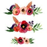 Комплект венка акварели вектора флористический с листьями и цветками года сбора винограда Художнический дизайн для знамен, поздра Стоковое Изображение RF