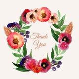 Комплект венка акварели вектора флористический с листьями и цветками года сбора винограда Художнический дизайн для знамен, поздра Стоковая Фотография