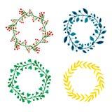 Комплект венка цветков акварели Флористическое круглое собрание рамки Покрашенное рукой украшение поздравительной открытки свадьб Стоковые Фотографии RF