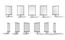 Комплект вертикального экрана для репроектора или знамени рекламы Различные углы белизна изолированная предпосылкой Стоковое фото RF