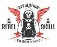 Комплект взбунтованного черепа и печати революции каркасной черно-белой для футболки иллюстрация вектора
