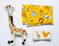 Комплект взгляд сверху вещества и игрушек для newborn младенца Стоковые Изображения RF