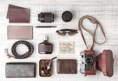 Комплект взгляд сверху путешественника человека Стоковые Фото