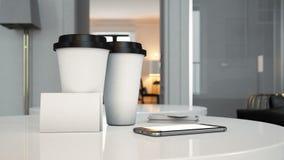Комплект 2 взятия чашек прочь, визитных карточек и Стоковые Изображения