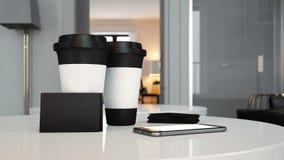 Комплект 2 взятия чашек прочь, черных визитных карточек Стоковые Фотографии RF