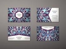 Комплект визитной карточки вектора винтажный стоковые фотографии rf