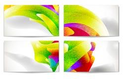 комплект визитной карточки самомоднейший абстрактное цветастое Иллюстрация вектора