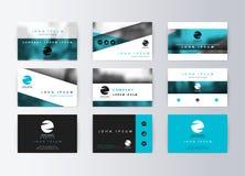 Комплект визитных карточек, голубая предпосылка Информационная карта шаблона стоковое фото