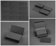 Комплект визитных карточек на черной предпосылке Стоковые Изображения RF