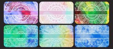 Комплект визитных карточек с орнаментом нарисованным рукой племенным Стоковое Фото