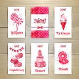 Комплект визитных карточек с помадками Стоковое Изображение